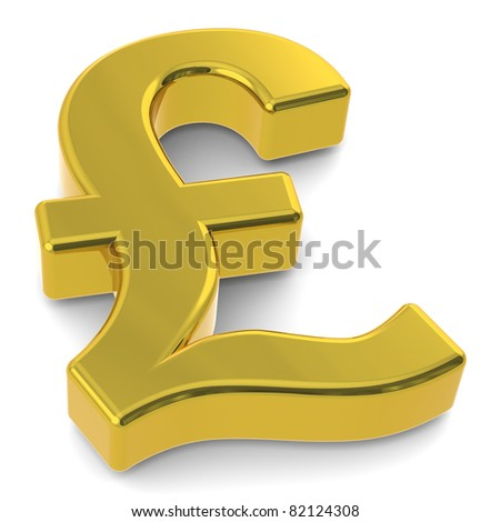 GBP. 3D British Pound symbol. Gold - stock photo