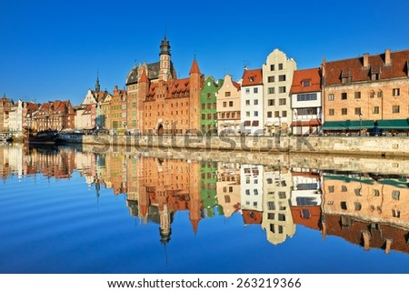 Gdansk Old Town Harbor Apartment Houses Poland - stock photo