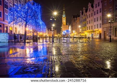 GDANSK, POLAND - DECEMBER 23, 2014:View of one of the central streets of Gdansk at night during the Christmas holidays. December 24, 2014 Gdansk, Poland.