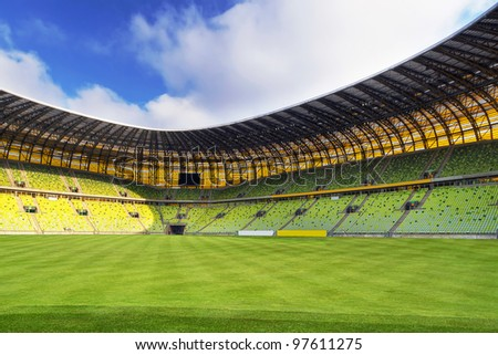 GDANSK, POLAND - FEBRUARY 7: Newly built PGE Arena stadium for 43,615 spectators. The stadium was built specifically for the Euro 2012 Championship, February 7, 2012 in Gdansk, Poland