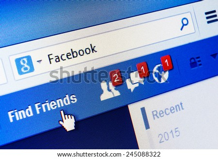 GDANSK, POLAND - 18 JANUARY 2015. Facebook.com homepage on the screen. Facebook is an online social networking and microblogging service - stock photo
