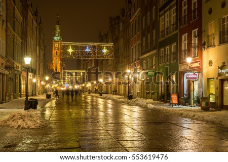 Gdansk, Poland. January 8, 2017:  The Long Lane in Gdansk, one of the most notable tourist attractions of the city with winter festive decorations. Poland. Europe.