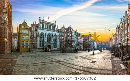 GDANSK, POLAND - MARCH 30: People visitors Long Street on March 30, 2010 in Gdansk, Poland. Street is one of the most notable tourist attractions of the city. - stock photo