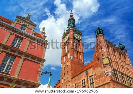 GDANSK, POLAND - 20 MAY: Architecture of historical city hall in Gdansk on 20 May 2014. Baroque architecture of the Long Lane is one of the most notable tourist attractions of the city.