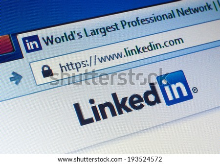 GDANSK, POLAND - 18 MAY 2014. Linkedin.com homepage on the screen. LinkedIn is a business-oriented social networking service - stock photo