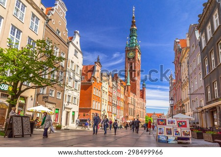 GDANSK, POLAND - MAY 11, 2015: The Long Lane street in old town of Gdansk, Poland. Baroque architecture of the Long Lane is one of the most notable tourist attractions of the city. - stock photo