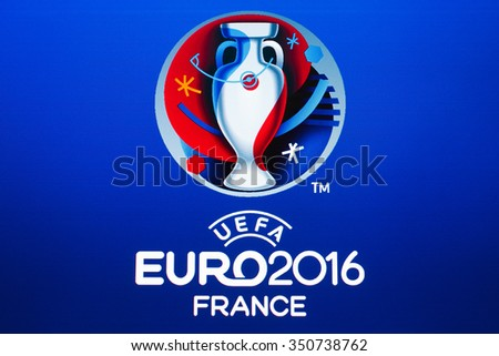 GDANSK, POLAND - NOVEMBER 20, 2015. Homepage UEFA - official logo of the 2016 UEFA European Championship in France on computer screen - stock photo
