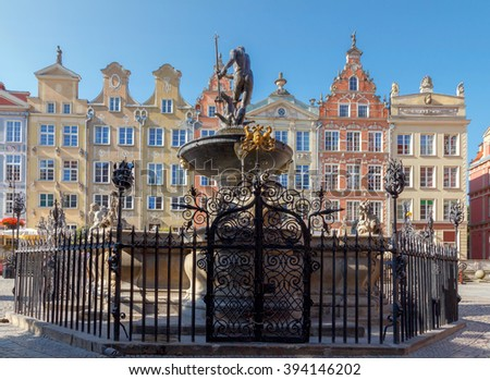 Gdansk. Sculpture of Neptune. - stock photo