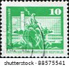 GDR - CIRCA 1973: A stamp printed in GDR (East Germany) shows Neptune Fountain, City Hall Street, Berlin, circa 1973 - stock photo