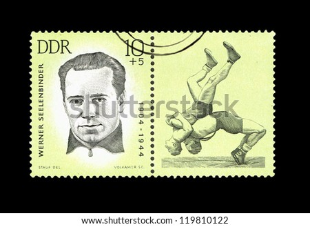 "GDR - CIRCA 1963: A Stamp printed in GDR (East Germany) shows wrestler Werner Seelenbinder, with the inscription ""Werner Seelenbinder (1904-1944)"" from the series ""Sport"", circa 1963"