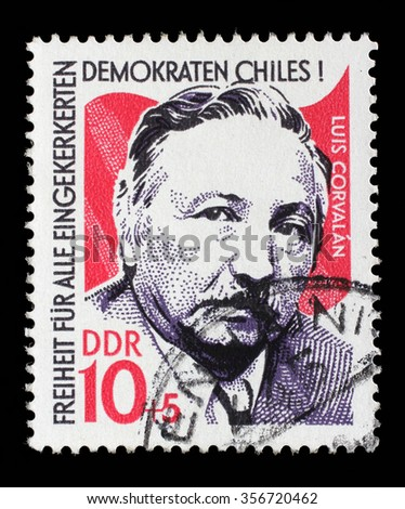GDR-CIRCA 1973: A stamp printed in GDR from the Chile Solidarity issue, circa 1973. - stock photo