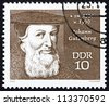 GDR - CIRCA 1970: a stamp printed in GDR shows Johann Gutenberg, Engraver, Inventor and Printer, circa 1970 - stock photo