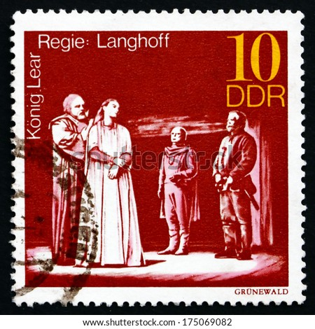 GDR - CIRCA 1973: a stamp printed in GDR shows King Lear, Staged by Wolfgang Langhoff, Great Theatrical Production, circa 1973 - stock photo