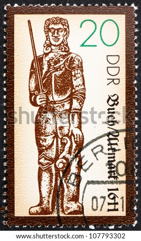 GDR - CIRCA 1989: a stamp printed in GDR shows Statue of Roland, Medieval Hero, Buch-Altmark, 1445, circa 1989