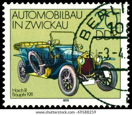 GDR - CIRCA 1979: A stamp printed in the GDR shows old automobile Horch 8 -1911, series, circa 1979 - stock photo