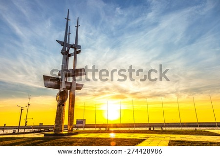 GDYNIA, POLAND - APRIL 23: Three Masts monument designed by Wawrzyniec Samp, unveiled in 1980, on April 23, 2015 in Gdynia, Poland. It is a very popular place for walks among the citizens of Gdynia. - stock photo
