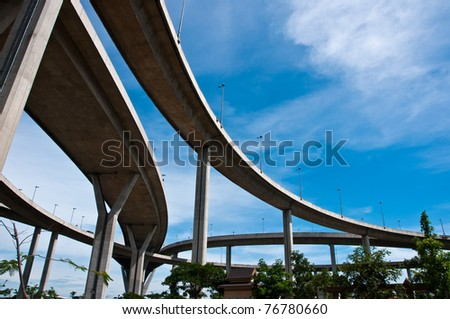 ge crossing elevated traffic highway in thailand - stock photo