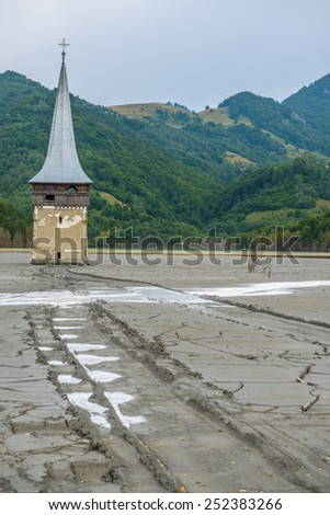 Geamana lake, village Romania, evironmental  destruction, toxic waste from operation of cyanide, industry. - stock photo