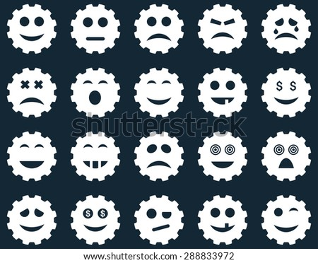 Gear emotion icons. Glyph set style: flat images, white symbols, isolated on a dark blue background.