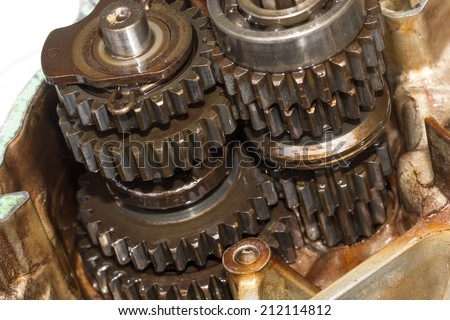 Gear Engine ,gear box part on isolated white background - stock photo
