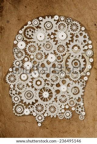 Gear gears head thinking strategy - stock photo