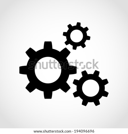Gear Icon Isolated on White Background Raster - stock photo