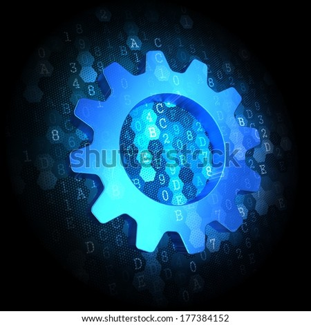 Gear Icon - Text in Blue Color on Dark Digital Background.