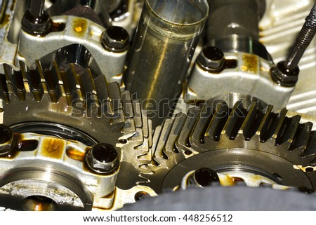 gear in car engine with lubricant oil.