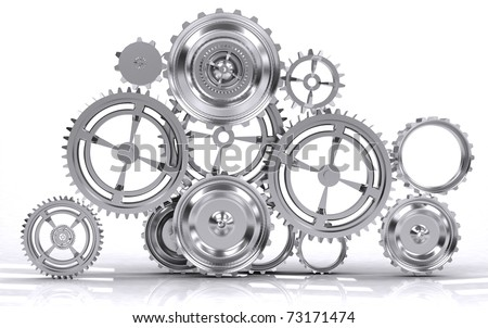gear machinery and titanium concept - stock photo