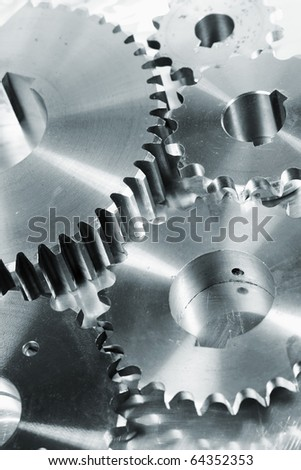 gear machinery in blue toning idea - stock photo