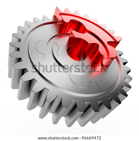 Gear made with jigsaw puzzles pieces, with one red piece - stock photo