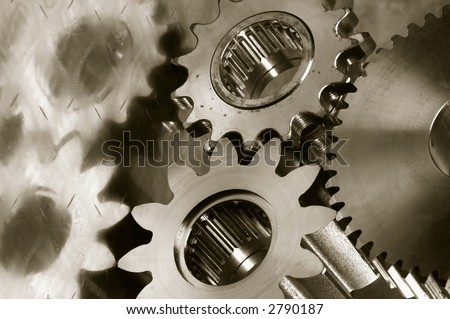 gear-mechanism and titanium in duotone colors