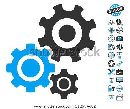 Gear Mechanism icon with bonus airdrone service images. Glyph illustration style is flat iconic blue and gray symbols on white background.
