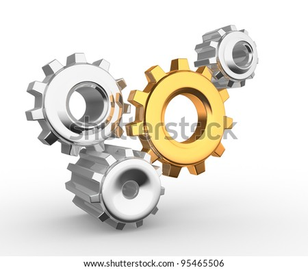 Gear mechanism - this is a 3d render illustation - stock photo