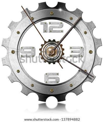 Gear Metallic Clock / Grunge metal clock gear-shaped on white background with metal cable  - stock photo