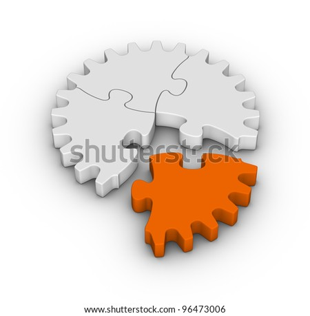 gear of jigsaw puzzles with one orange piece - stock photo