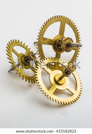 Gear of the clock on a white background - stock photo