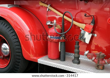 Gear on the Side of a Vintage Fire Engine