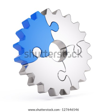 Gear puzzle - stock photo