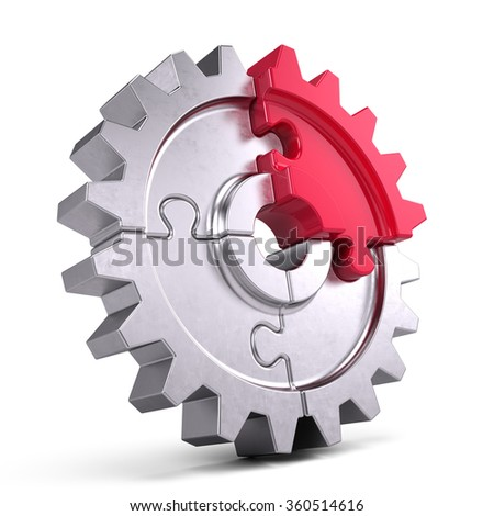 Gear puzzle - business teamwork and partnership concept - stock photo