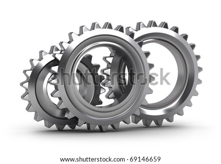 Gear set isolated on white - stock photo