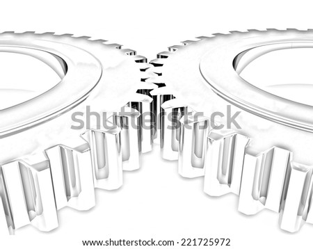 Gear set on a white background. Pencil drawing - stock photo