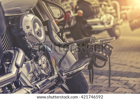 gear shifter pedal of a motorcycle. - stock photo
