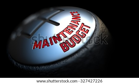 Gear Stick with Red Text Maintenance Budget on Black Background. Selective Focus. 3D Render. - stock photo