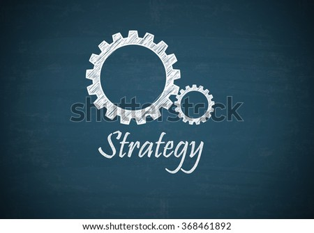 GEAR UP with STRATEGY text on blue chalk board , business concept , business idea - stock photo