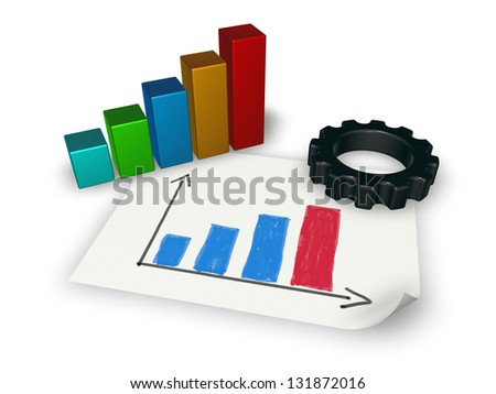 gear wheel and business graph on white background - 3d illustration