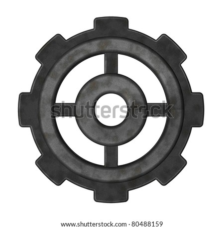 gear wheel on white background - 3d illustration - stock photo