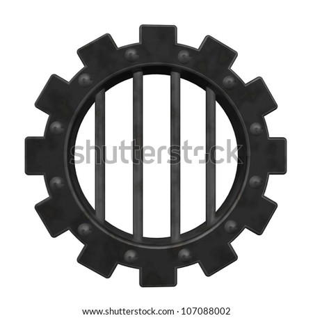 gear wheel prison window - 3d illustration - stock photo