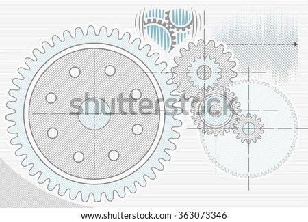 Gear wheels as pencil drawing. Technological abstract engineering background - stock photo