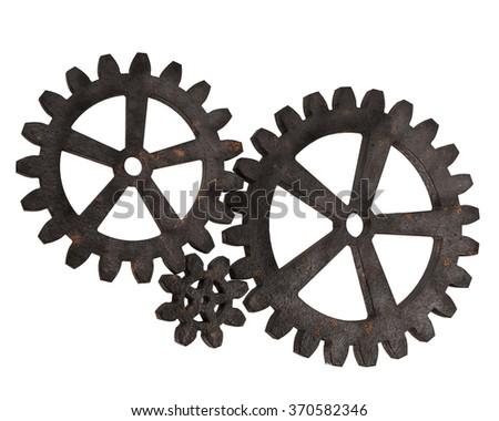 Gear wheels from rusty metal isolated on white background. Highly detail render.